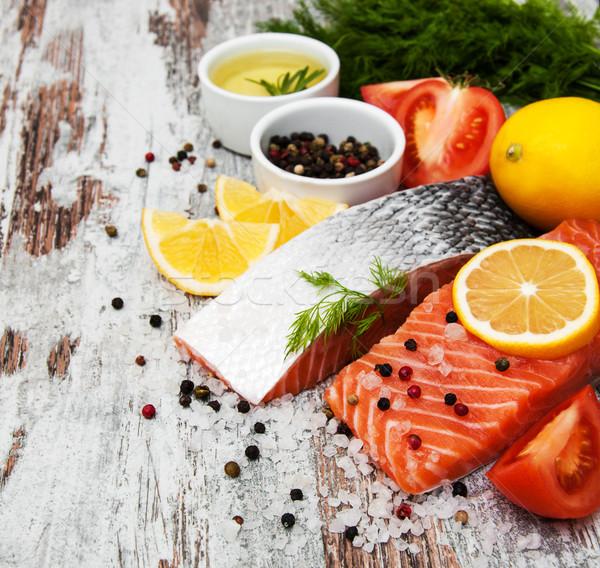 Fresche salmone filetto aromatico erbe spezie Foto d'archivio © Es75