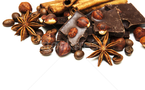 Cioccolato fondente dadi spezie bianco alimentare cioccolato Foto d'archivio © Es75