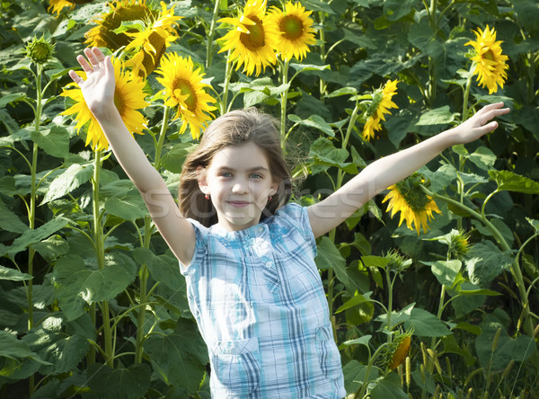 Foto d'archivio: Bella · bambino · girasole · estate · campo · cielo