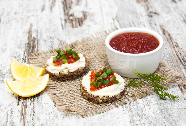 canape with red caviar  Stock photo © Es75