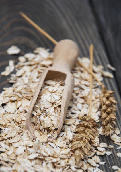 Zab pelyhek fából készült merítőkanál étel kukorica Stock fotó © Es75
