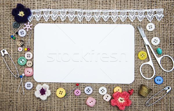 Foto stock: De · costura · alfaiate · madeira · trabalhar · metal · cartão