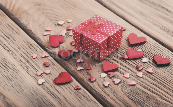 Stock photo: Gift box and hearts - vintage toning