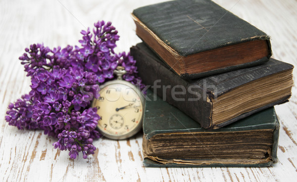 Old Books  and lilac branch Stock photo © Es75