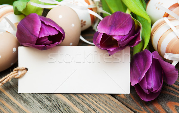 easter background with easter eggs and tulips Stock photo © Es75