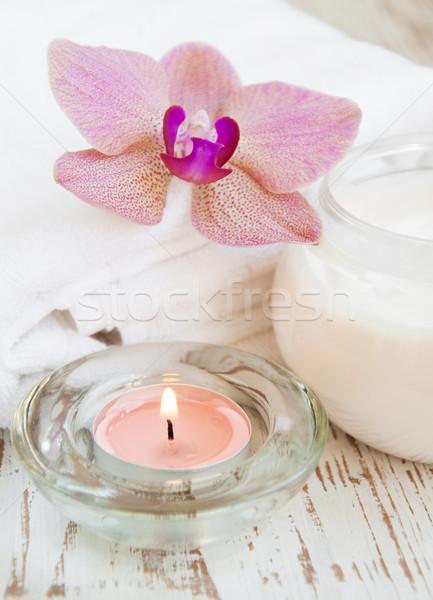 Hidratáló krém rózsaszín orchideák konténer kozmetikai Stock fotó © Es75