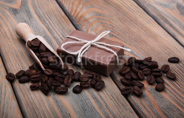Kaffee duftenden Seife Holz Körper Stock foto © Es75