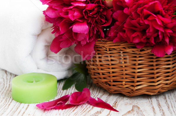 Spa towel with peony flower Stock photo © Es75
