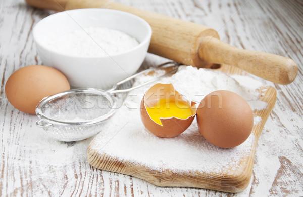 Ingrédients table vieux blanche alimentaire Photo stock © Es75
