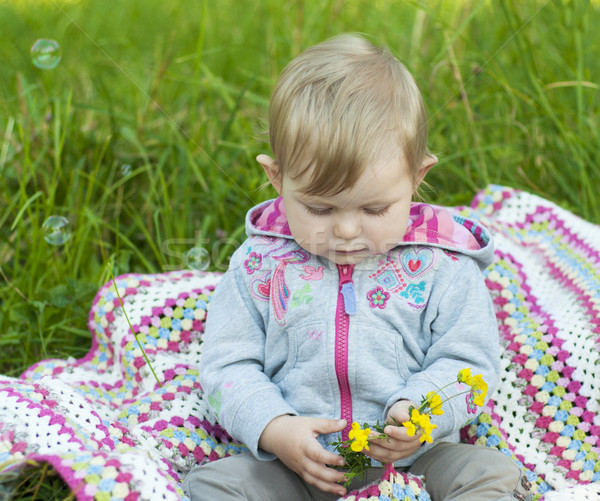 удар пузырьки Cute девушки парка детей Сток-фото © Es75