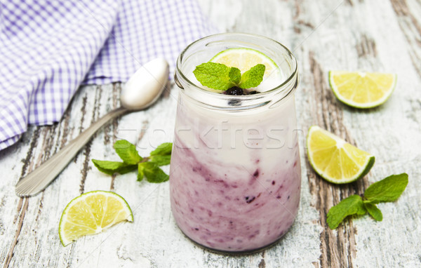 fresh fruit yoghurt with blackberries Stock photo © Es75