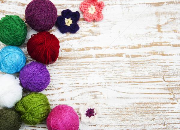 Kleur wollen houten mode ontwerp Stockfoto © Es75