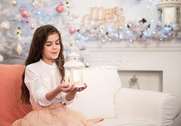 Stock fotó: Csinos · kislány · elemlámpa · karácsony · idő · lány