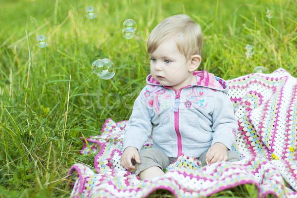 Faire sauter bulles cute fille parc enfants Photo stock © Es75