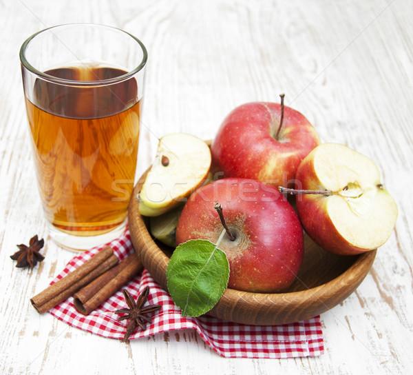 リンゴジュース 新鮮な リンゴ 木製 食品 葉 ストックフォト © Es75