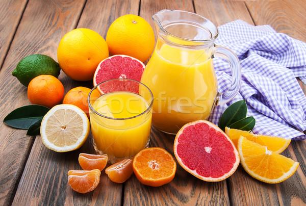 新鮮な 柑橘類 ジュース 果物 木製のテーブル 食品 ストックフォト © Es75