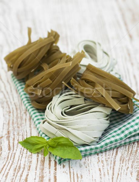 Tagliatelle Italiaans pasta houten voedsel spaghetti Stockfoto © Es75