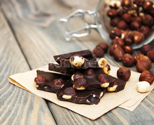 темный шоколад орехи продовольствие шоколадом фон Сток-фото © Es75