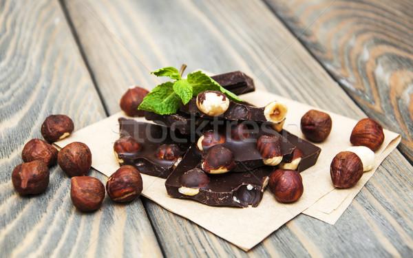 Pure chocola noten houten voedsel chocolade achtergrond Stockfoto © Es75