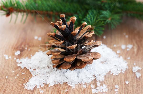 Natale decorazione cono evergreen ramo legno Foto d'archivio © Es75