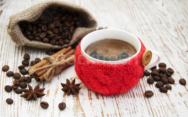 Cup maglia spezie legno caffè bianco Foto d'archivio © Es75