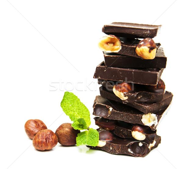 Koyu çikolata fındık beyaz gıda çikolata arka plan Stok fotoğraf © Es75