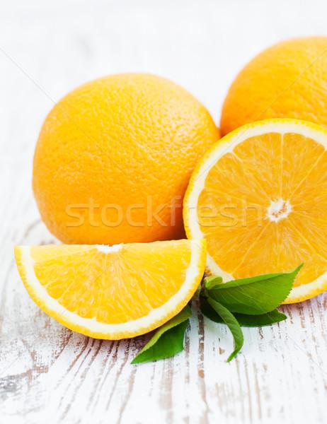 Arance foglie legno foglia frutta arancione Foto d'archivio © Es75