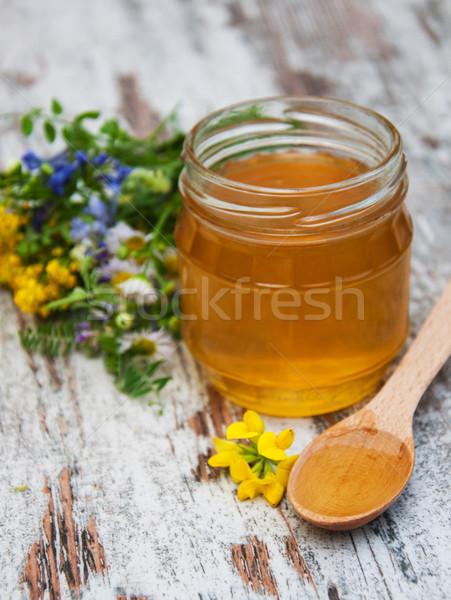 Mel flores silvestres velho comida madeira Foto stock © Es75
