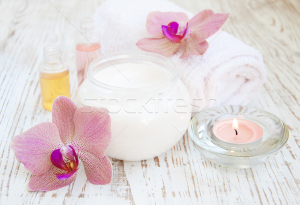 moisturizing cream with pink orchids Stock photo © Es75