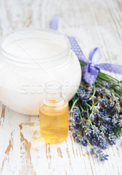 container with cream, massage oil  and lavender Stock photo © Es75