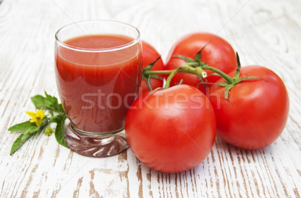 Tomatensap glas vers tomaten blad achtergrond Stockfoto © Es75