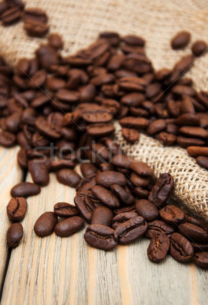 coffee beans and burlap fabric Stock photo © Es75