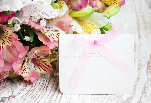 ストックフォト: 花 · 白 · カード · メッセージ · 自然 · 葉