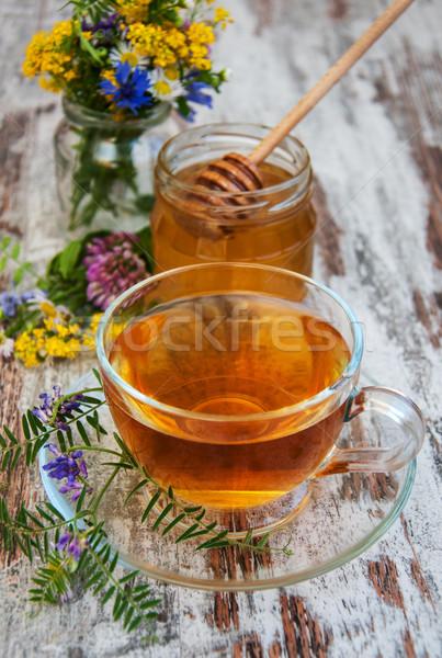 Сток-фото: Кубок · чай · меда · цветы · старые