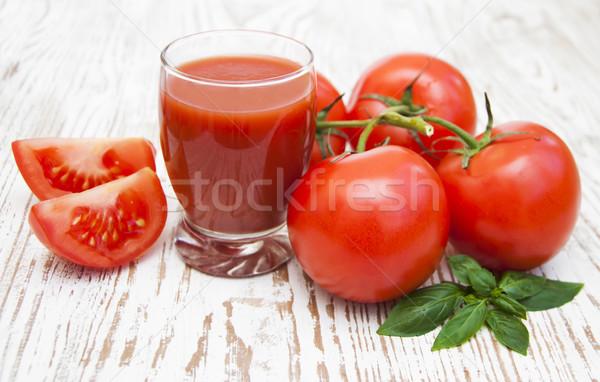 トマトジュース ガラス 新鮮な トマト 葉 背景 ストックフォト © Es75