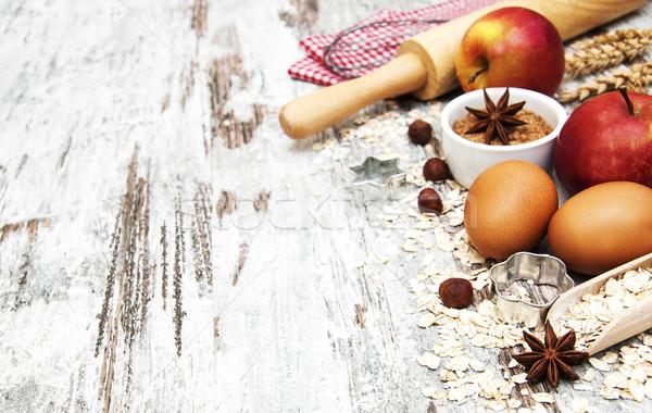 Składniki jaj orzechy jabłko Zdjęcia stock © Es75