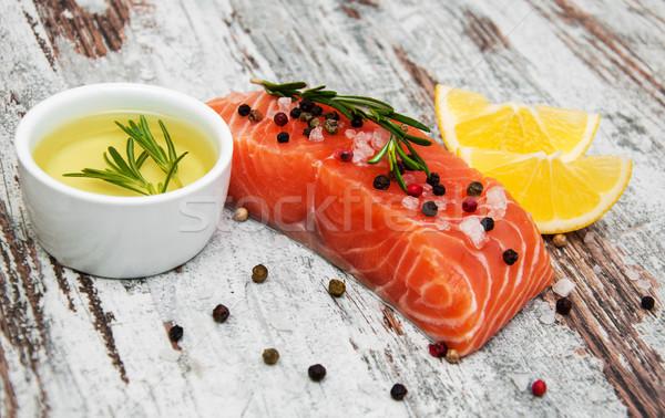 新鮮な 鮭 フィレット 芳香族の ハーブ スパイス ストックフォト © Es75