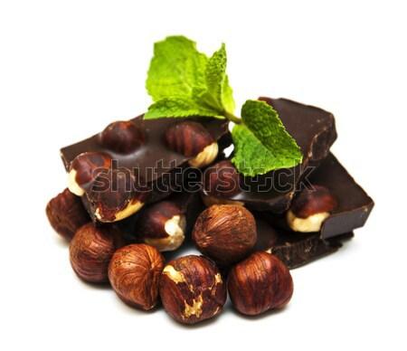 темный шоколад орехи белый продовольствие шоколадом фон Сток-фото © Es75