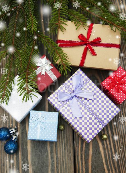 Foto stock: Natal · árvores · caixas · de · presente · festa