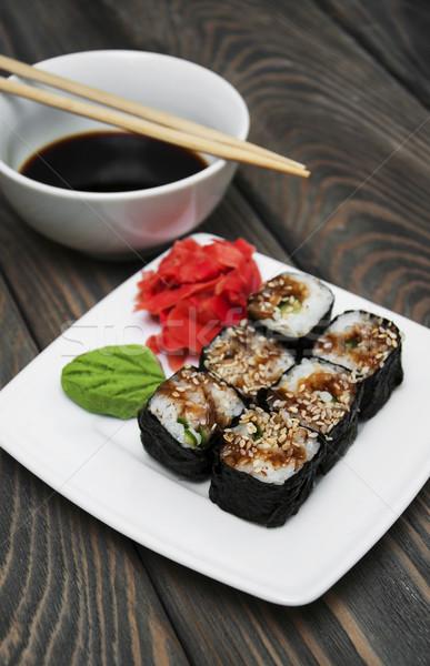 Japán szusi tányér tekercsek wasabi gyömbér Stock fotó © Es75