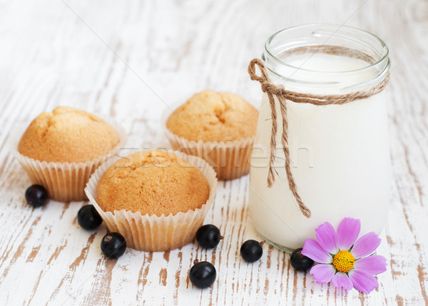 Stock photo: Natural yoghurt with fresh blackcurrants