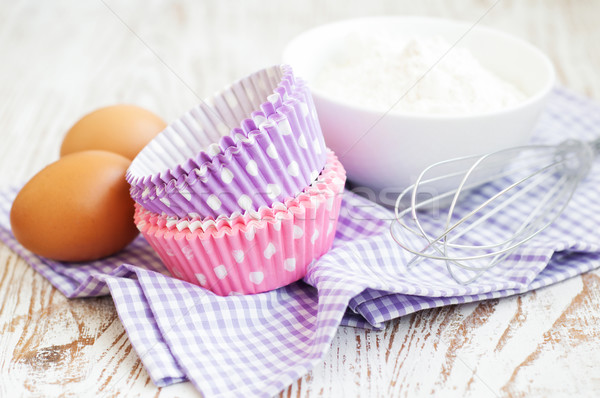Cupcake cases and ingredients Stock photo © Es75