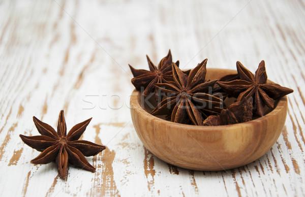 Csillag ánizs tál fából készült makró fotózás Stock fotó © Es75
