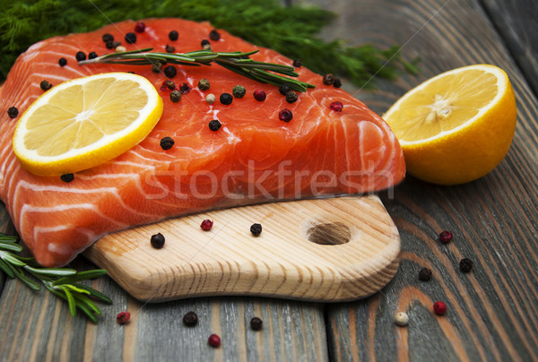 salmon fish with fresh herbs Stock photo © Es75