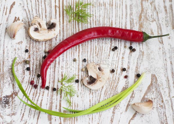 chilis, onion,  mushrooms and garlic Stock photo © Es75