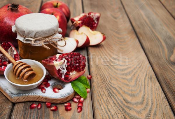 Miel grenade pommes vieux bois alimentaire Photo stock © Es75