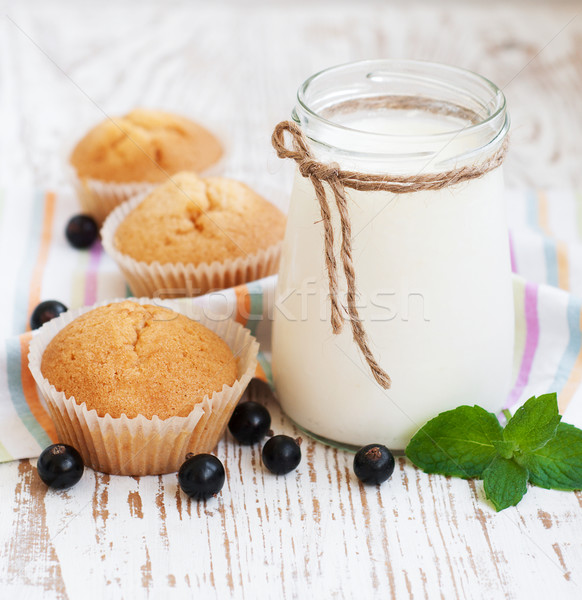Natural yoghurt with fresh blackcurrants Stock photo © Es75