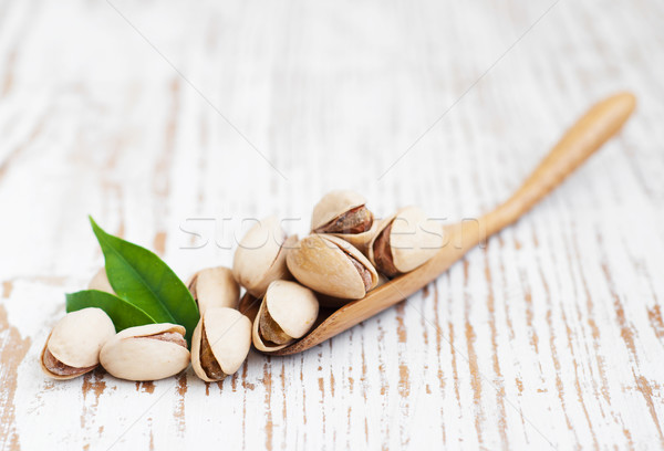 Laisse bois alimentaire vert shell cuillère Photo stock © Es75