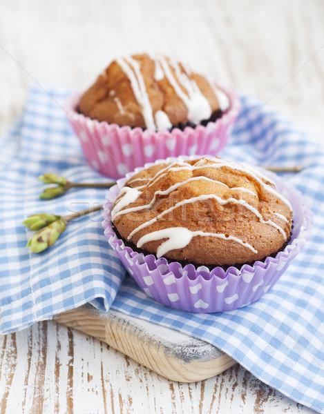Muffinok finom házi készítésű fából készült torta reggeli Stock fotó © Es75