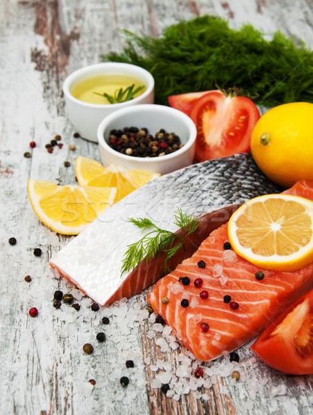 Foto stock: Frescos · salmón · filete · aromático · hierbas · especias